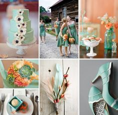 Seafoam green and orange/peach inspiration board!