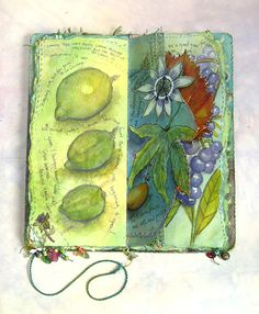 'Garden Journal' lemons and passion flowers spread, with illustration and stitch (click to enlarge)