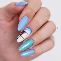 Sea And Beach Nails Ideas Blue Lagoon #almondnails #seanails #beachnails #bluenails ❤️ We have collected the freshest nail designs for summer 2018. Opt for vibrant colors and design to look super cool. ❤️ See more: https://naildesignsjournal.com/nail-designs-for-summer/ #naildesignsjournal #nails #nailart #naildesigns #summernails #nailsforsummer #brightnails
