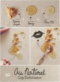 Homemade lip exfoliator to get all of the dry, flaky skin off those lips! This site also has a ton of other DIY beauty ideas like body scrubs, lip balm, moisture masks, and lots more!