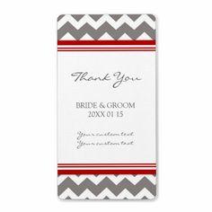 Grey Red Chevron Wedding Labels