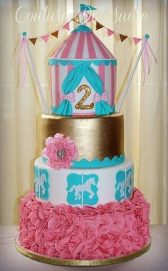 Cake for girl Carnival Birthday Cakes, Circus Theme Cakes, Carnival Cakes, Carnival Themed Party, Circus Birthday, Birthday Cake Girls, Themed Cakes, First Birthday Parties, Circus Party