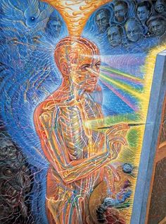 """Once a medical artist at Harvard, Alex Grey (born Alex Velzy on November has, over the last thirty years, painted """"theocentric"""" personages based on his own experiences of meditation, prayer and use of LSD. Alex Grey is a Vajrayana practitioner. Psychedelic Art, Psychedelic Experience, Alex Grey Paintings, Art Gris, Alex Gray Art, Art Visionnaire, Psy Art, Process Art, Art Graphique"""