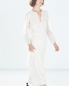 LONG EMBROIDERED DRESS from Zara