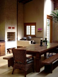 BOL Fotos Fantasy House, Rocket Stoves, Poker Table, Dining Bench, The Originals, Interior Design, Wood, Kitchen, Furniture