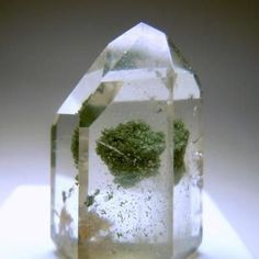 quartz with a cluster of chlorite inside.