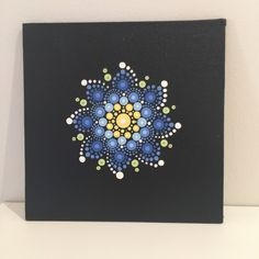 A bright fresh spring inspired color palate adds to the beauty of this hand painted dot mandala. 6x6 inch canvas panel sealed for long lasting beauty