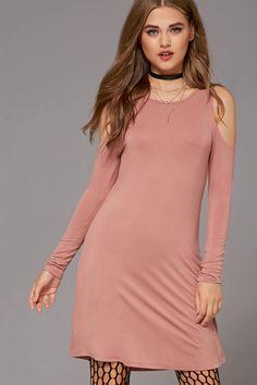Knit Open-Shoulder Dress
