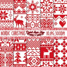 Nordic Christmas Digital Papers, Red, Seamless Patterns - 10pcs 300dpi (paper crafts, card making, scrapbooking) Commercial use