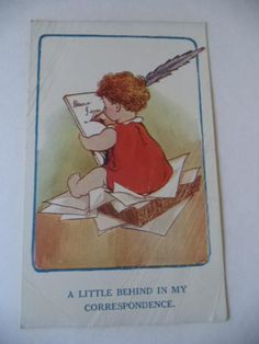 "ANTIQUE COMIC POSTCARD ""A LITTLE BEHIND IN MY CORRESPONDENCE"" Early 1900's"