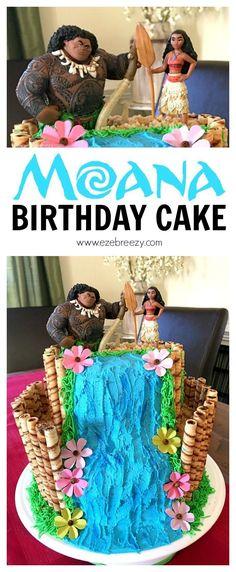 Moana Cake - the perfect cake for your Moana birthday party! | http://www.ezebreezy.com #birthdaycakes
