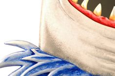 Shark Mirror - close up on the hand painted details.