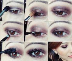 tuto maquillage yeux marrons avec fard brillant tendre