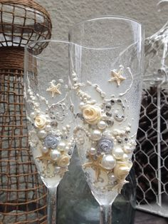 Starfish and roses wedding champagne glasses by PureBeautyArt