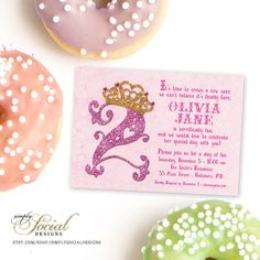 Second Birthday Party Invitation 2nd Crown Pink and Gold Glitter Tiara Crown Polka Dots Story Book Lettering