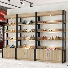 Cheap Retail Showcase Shoe Display Cabinet With Lights - Boutique Store Fixtures Manufacuring, Retail Shop Fitting Display Furniture Supply Shoe Display, Display Design, Display Shelves, Bread Display, Display Wall, Display Cabinets, Display Ideas, D House, Shop House Plans
