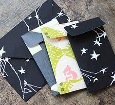 Use Spoonflower gift wrap for envelopes - must make..Treasures...gift wrap