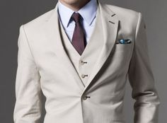 Linen suit by Indochino.  Note vest.
