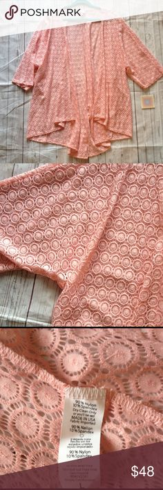 BNWT LuLaRoe Lace Lindsay Kimono Peachy pink lace.  So pretty!   Large fits sizes 18-22 LuLaRoe Sweaters Cardigans