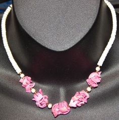 "White Hawaiian Puka Shell 16"" Necklace with Pretty Pink Rosette Detail #Unbranded #Choker"