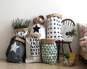 Geometric paper bag storage, Storage Bin, Storage Basket, Toy Storage