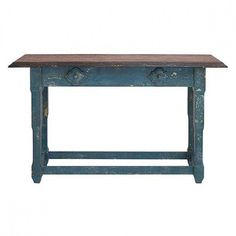 """59"""" Organic Inspired Distressed Blue Finish Wood Console Table with Applied Quatrefoil Designs, dark stain rustic beveled top with wide overhang, carved legs an"""
