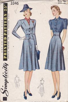 Very cute 1940 Simplicity 3346 dress and collarless jacket sewing pattern. $ 32, via Etsy.  Fabulous late 30s/early 40s look.