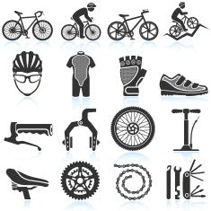 Cycling Racing black & white royalty free vector icon set vector art illustration