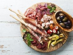 Antipasto Platter Cold meat plate with grissini bread sticks on wooden background – License high-quality food images for your projects – Rights managed and royalty free – 12292101 Tapas Recipes, Italian Recipes, Antipasti Platter, Antipasto Salad, Italian Meats, Tasty, Yummy Food, Food Platters, Food Presentation