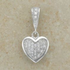 Sterling Silver Pave Set Heart Design CZ Pendant Inc Chain Irish Jewelry, Sterling Silver Necklaces, Dog Tag Necklace, Bling, Pendants, Chain, Stone, Heart, Gifts