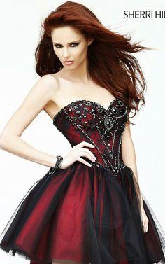 Black red strapless beaded lace a line short party dress [sherri hill 21156 black red Pretty Dresses, Sexy Dresses, Beautiful Dresses, Evening Dresses, Short Dresses, Dresses 2013, Dresses Online, Dama Dresses, Summer Dresses