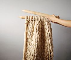 DIY kit. Blanket 25x30 (65x75 cm) 2 inch stitch. Giant knit. 23 microns merino wool.     This kit includes:  - big straight wooden needles - yarn -