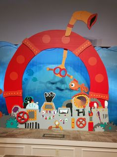 Submerged VBS 2016 Close-up view of backdrop for The Helm (Worship Rally). Photo taken at the Lifeway 2016 VBS Preview Event in Fort Worth, Texas.