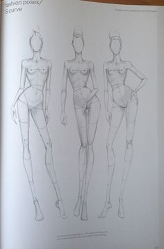 """9 HEADS FASHION BOOK"" S Curve Fashion Drawing template"