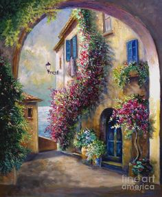 European Home By The Ocean ~ Artist: Gina Femrite