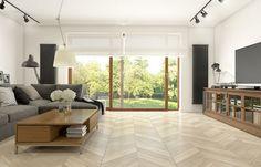 Aranżacja przestronnego salonu w stylu eklektycznym z dużymi oknami - Lovingit.pl