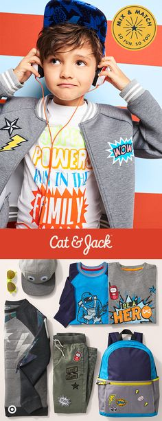 Say hello to Cat & Jack!  Cat & Jack's Everyday Hero collection has bomber jackets with cool patches and tons of graphic tees—perfect for a total outfit pep talk. It's got bold, comic-inspired prints, but it's all easily mix and match-able and guaranteed for one year, which means it's sure to keep up with your kiddo's plans to save the world.
