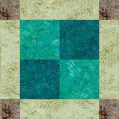 """Batik Unequal Nine Patch Quilt Block Pattern -12"""""""