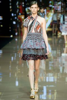 Just Cavalli | Spring 2015 Ready-to-Wear | 17 Multicolour printed ruffled halter mini dress