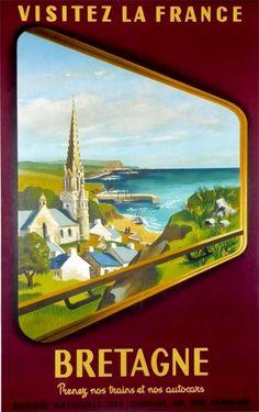 "Original Vintage SNCF Railway Travel Poster ""Visit France Brittany"" by Train Plakate – Weinlese-Sncf-Bahnreise-Plakat-Besuchs-Frankreich-Bretagne-Zug-französisches Papier Vintage Travel Posters, Vintage Postcards, Vintage Ads, Party Vintage, Region Bretagne, Brittany France, Beach Posters, Railway Posters, Advertising Poster"