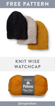 Free Knitted Wise Watchcap in Patons Classic Wool Roving. Keep cozy while looking cool with this classiclly shaped knit watchcap. Crochet Mens Hat Pattern, Beanie Knitting Patterns Free, Knit Beanie Pattern, Knitting Paterns, Spool Knitting, Free Knitting, Knitting Projects, Crochet Patterns, Mens Knit Beanie