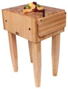"""John Boos PCA1C Butcher Block Table, Hard Rock Maple, 10 in Deep, 18 x 18 in, Casters, Each by John Boos. $580.00. John Boos PCA1C Butcher Block Table, Hard Rock Maple, 10 in Deep, 18 x 18 in, Casters. Pro Chef Butcher Block Table, 10"""" Boos Block Cream finish Hard Rock Maple end grain work surface, knife holder (not available on PCA1), pencil legs, 34"""" high, NSF. Shipped knocked-down, easy to assemble. Standard with Boos Block Cream finish with beeswax."""