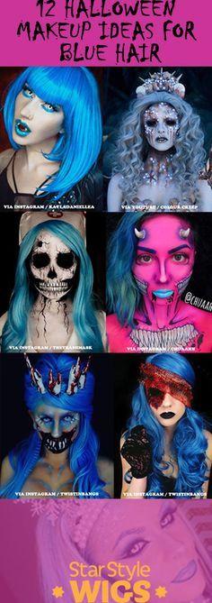 12 Halloween Makeup Looks For Blue Hair Halloween Makeup Looks Halloween Makeup Inspiration Blue Hair