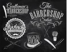 Set Barbershop, scissors, shaving brush, razor, cylinder, in a retro style and stylized for the drawing with chalk on the blackboard photo