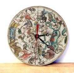 Constellation Map Wall Clock - Constellaton Decor Clock - Horoscope Art Wall Clock - Home Decor Wall Art - Medievil Art - pinned by pin4etsy.com