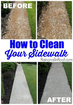Here's how to clean a sidewalk using a tank sprayer, oxy cleaner, and a deck brush. You can have it done in an hour or less.