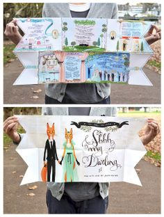 SHHH MY DARLING: WEDDING STATIONERY - who says your wedding invitation has to be printed on card stock?  Love this fold-up version printed big, big, BIG!
