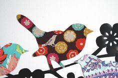 Chasing Cottons: Fabric scraps = Bird wall art