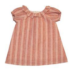 Vestido bebé Minivillalobos con manga farol de lino. Más moda infantil en www.yosolito.es y www.yosolito.es/tienda