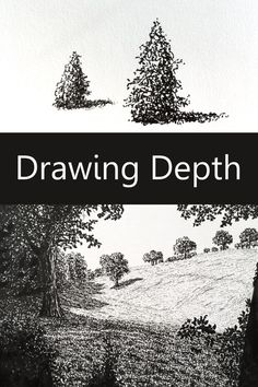 How to draw and paint with a sense of space or depth. 15 techniques that will take your art to the next level. Drawing tutorial for all levels with drawings examples. Landscape Drawing Tutorial, Landscape Pencil Drawings, Realistic Pencil Drawings, Pencil Art Drawings, Easy Drawings, Art Sketches, Landscape Paintings, Realistic Eye, Eye Drawing Tutorials